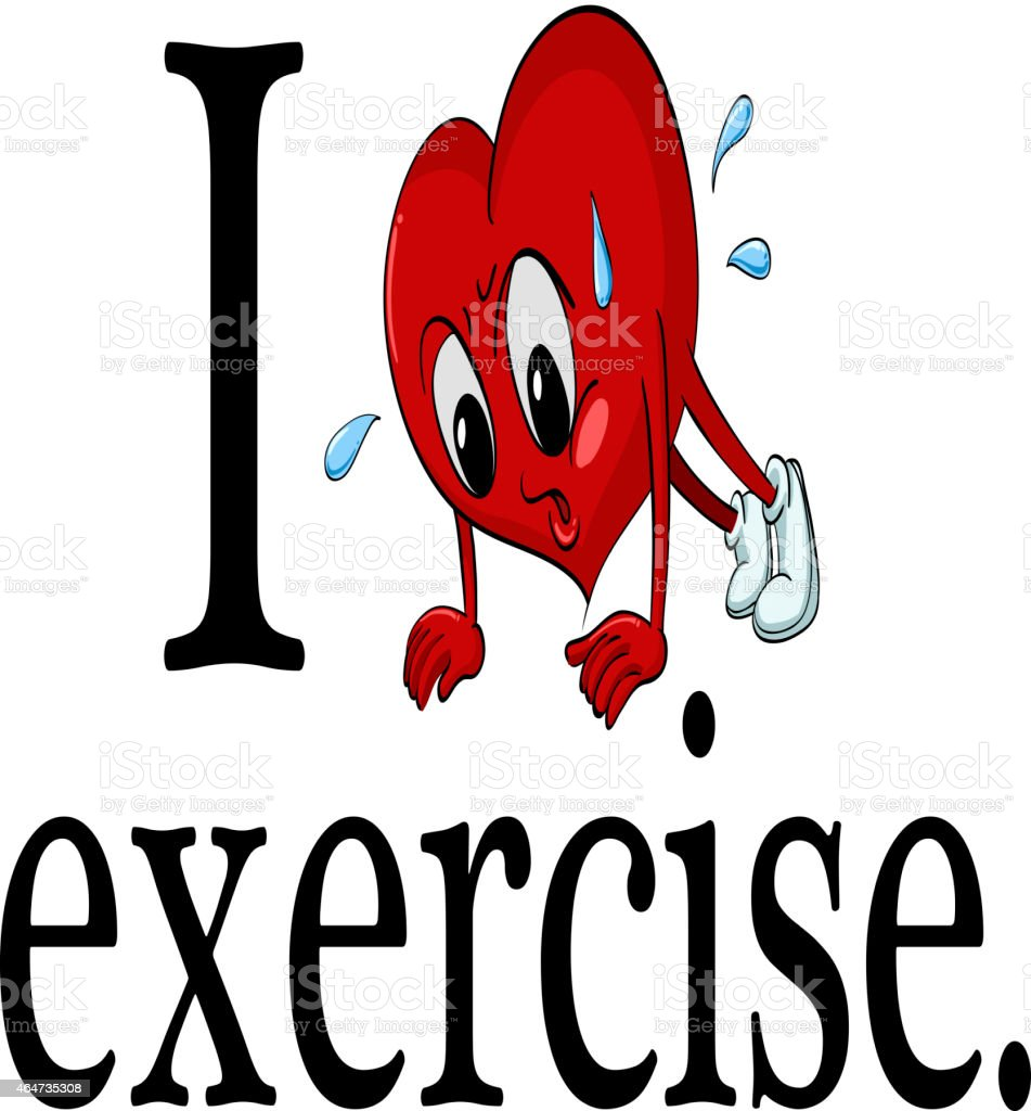 I love exercise vector art illustration