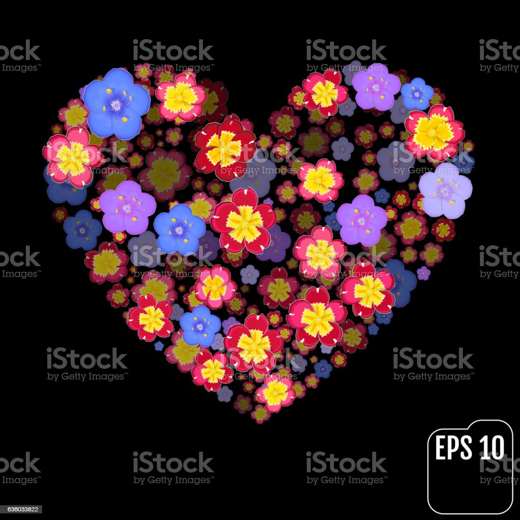 I love flower. Heart of flowers vector art illustration