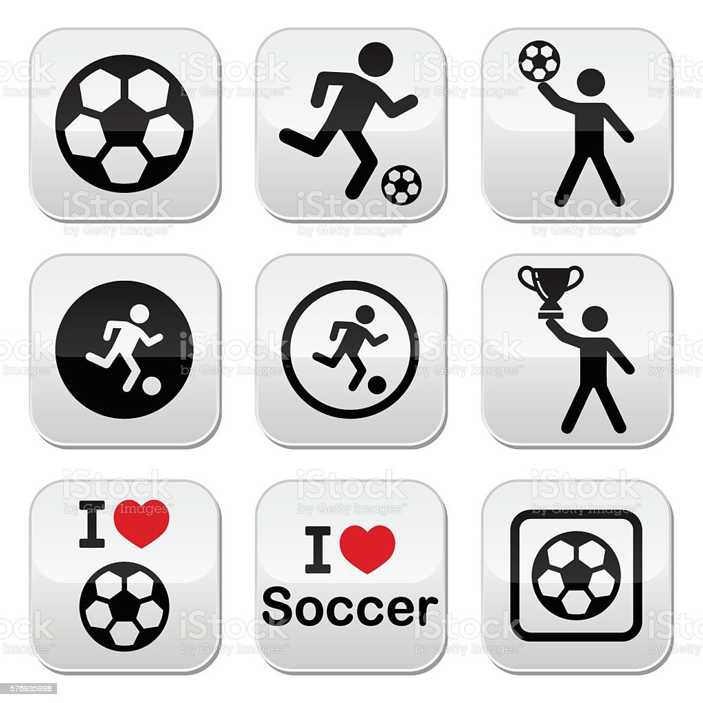 I love football, soccer buttons set vector art illustration