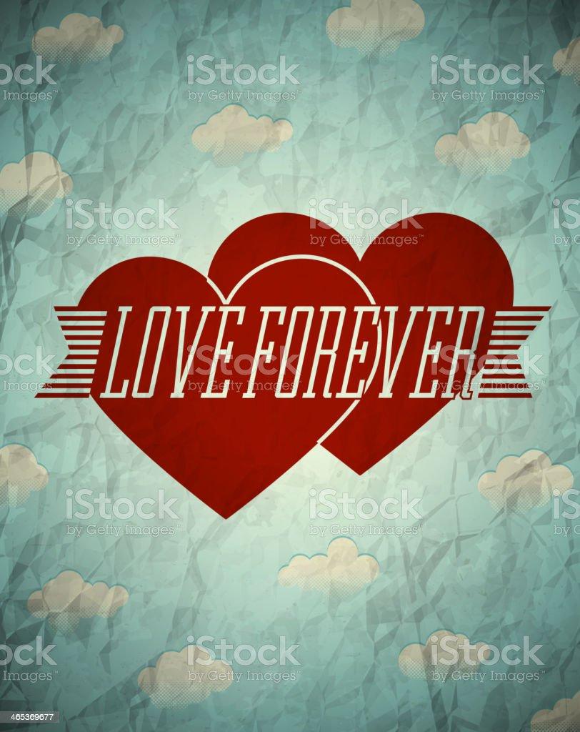 Love forever vintage card vector art illustration