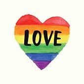 Love Gay Pride poster rainbow spectrum heart shape, brush lettering