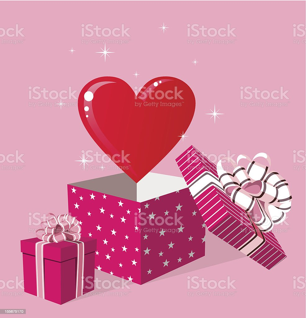 Love gift in box greeting card royalty-free stock vector art