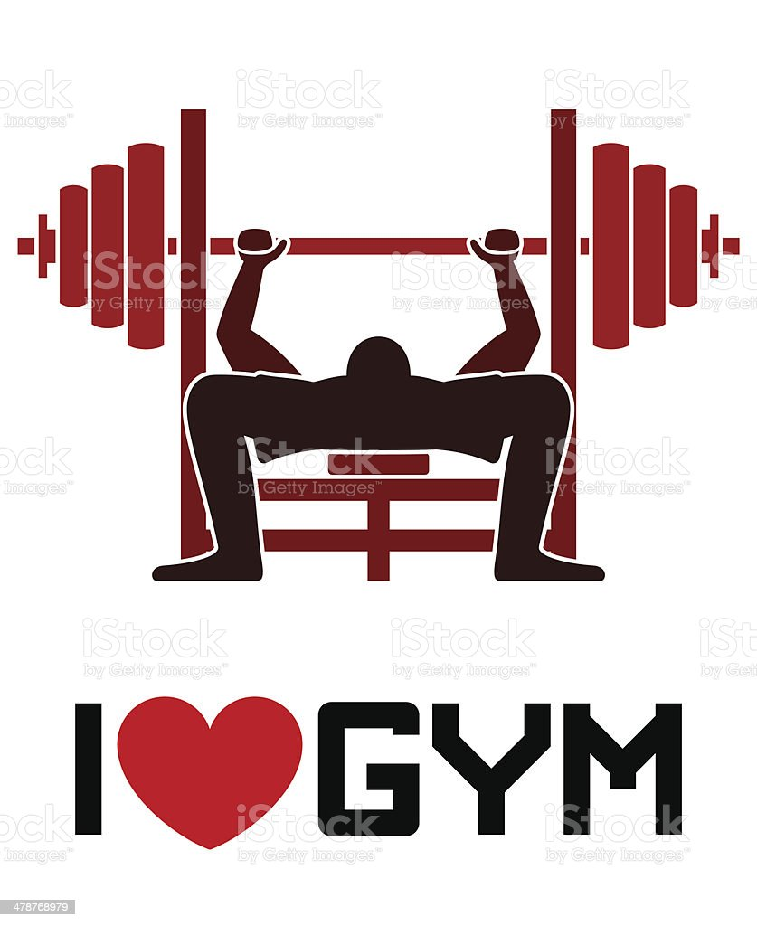 I Love Gym Symbol vector art illustration