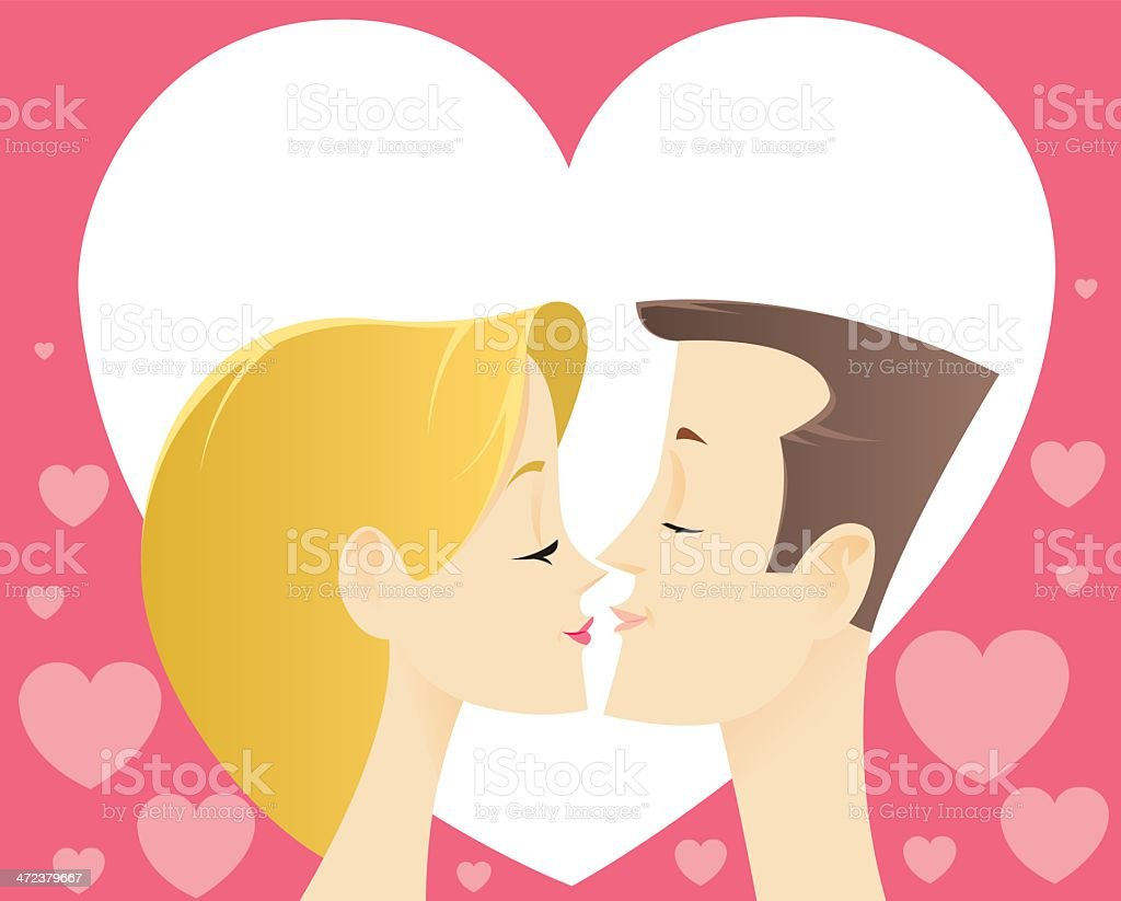 Love Heart and Kiss royalty-free stock vector art