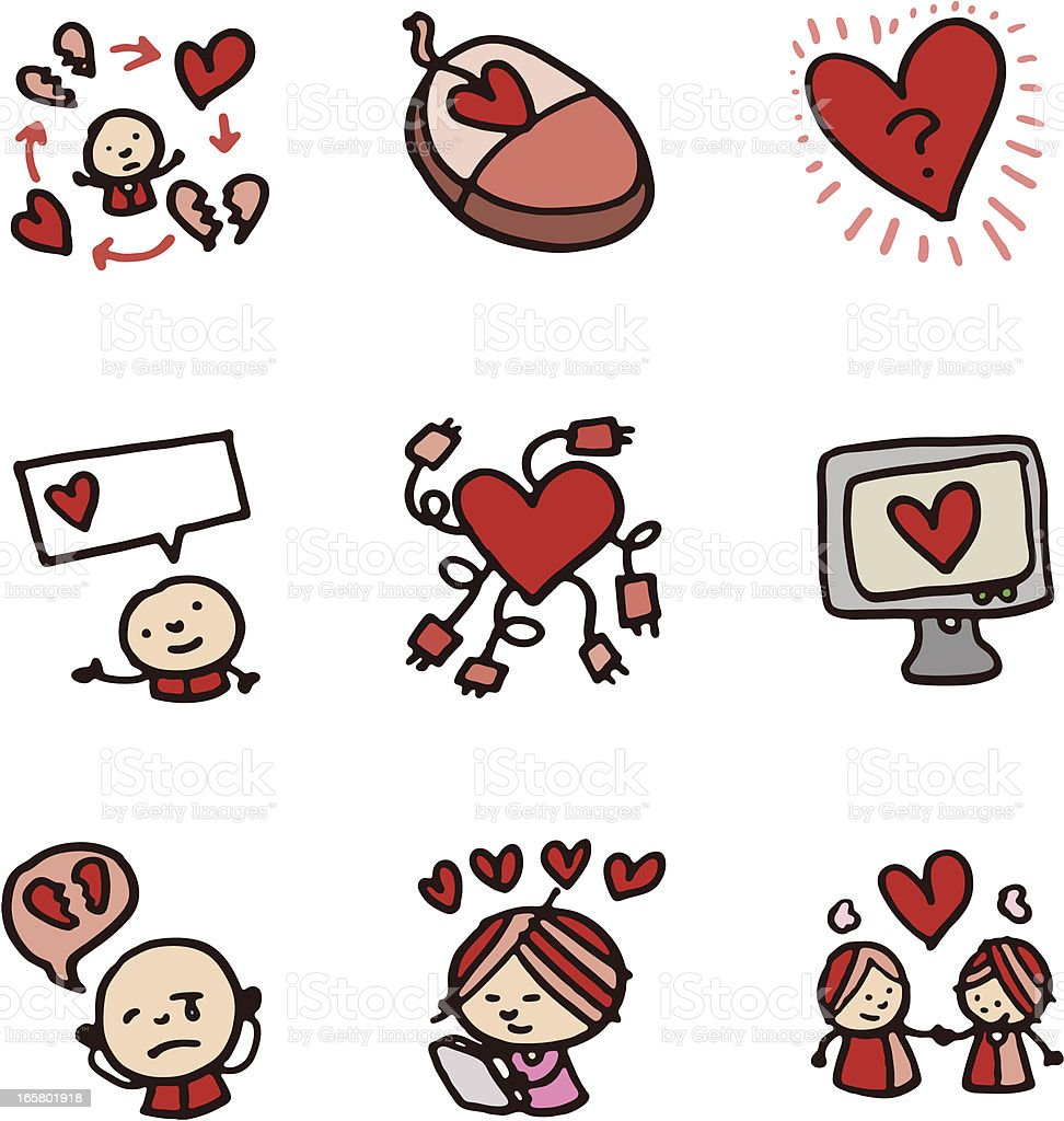 Love heart and romance doodle icon set royalty-free stock vector art