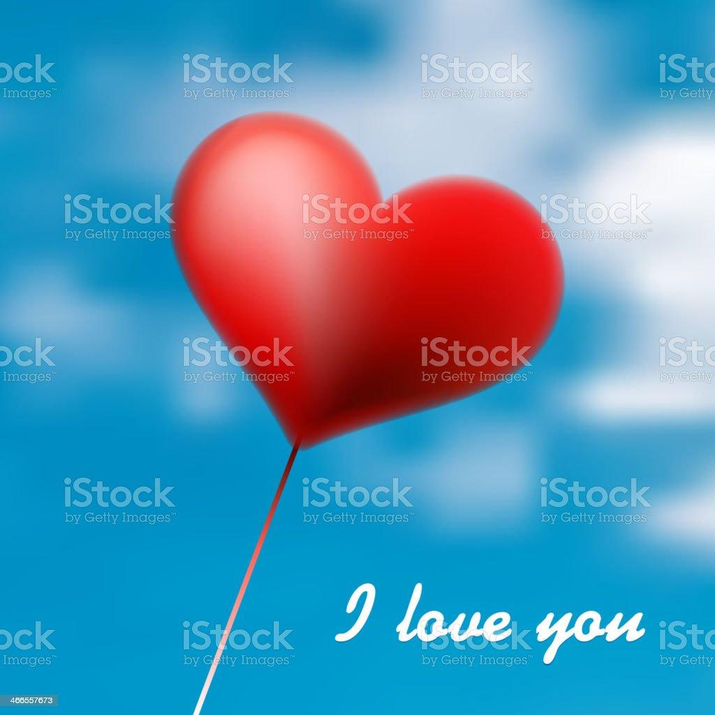 Love Heart Balloon in Blue Sky. + EPS10 royalty-free stock vector art