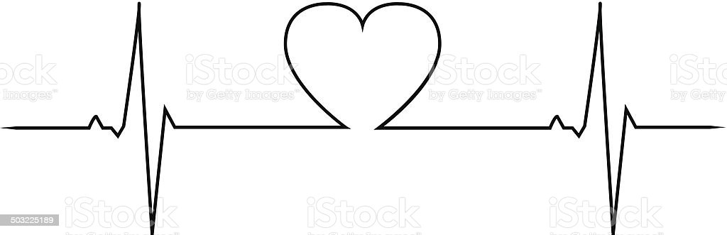 Love heart beat vector art illustration