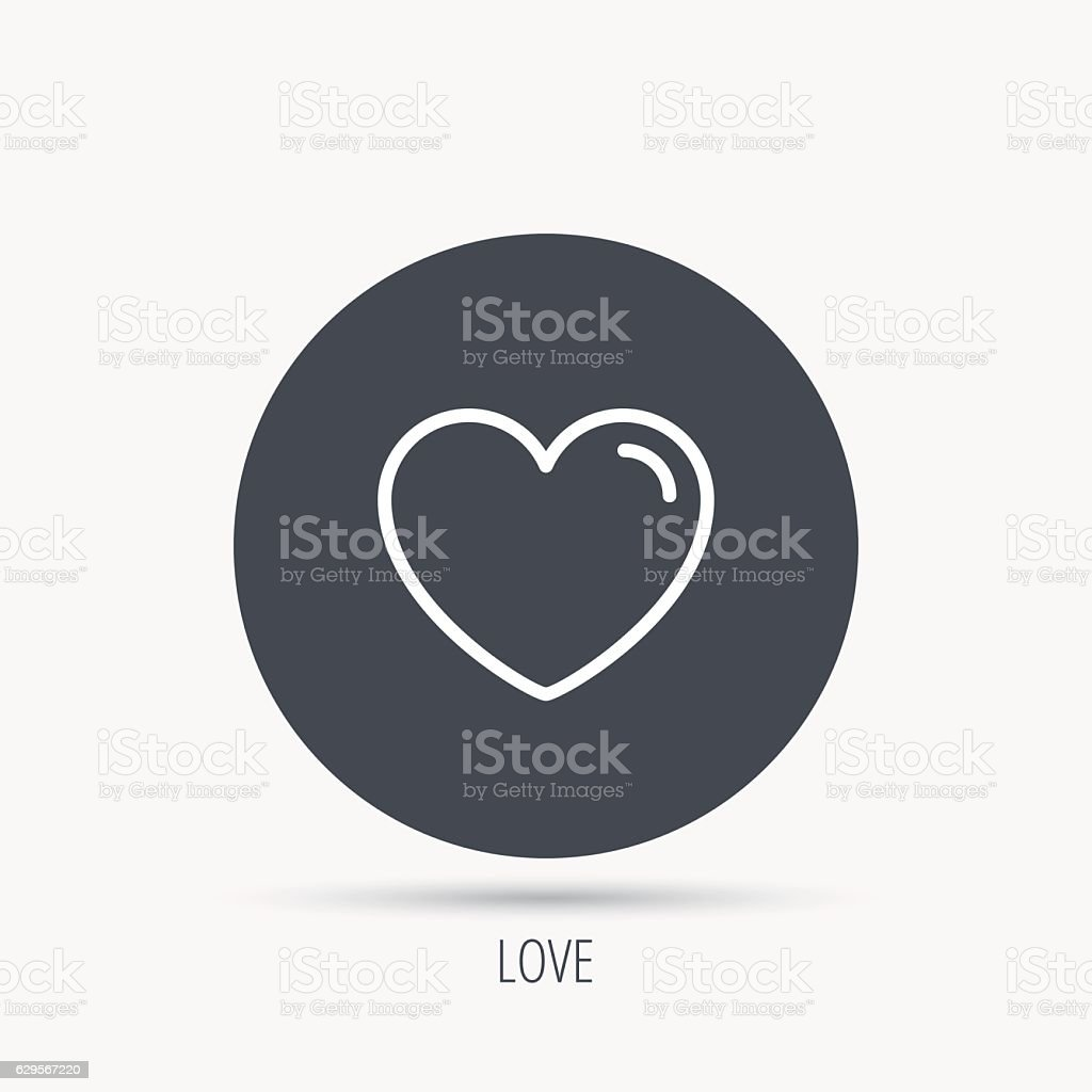 Love Heart Icon Life Sign Like Symbol Round Web Button With Flat