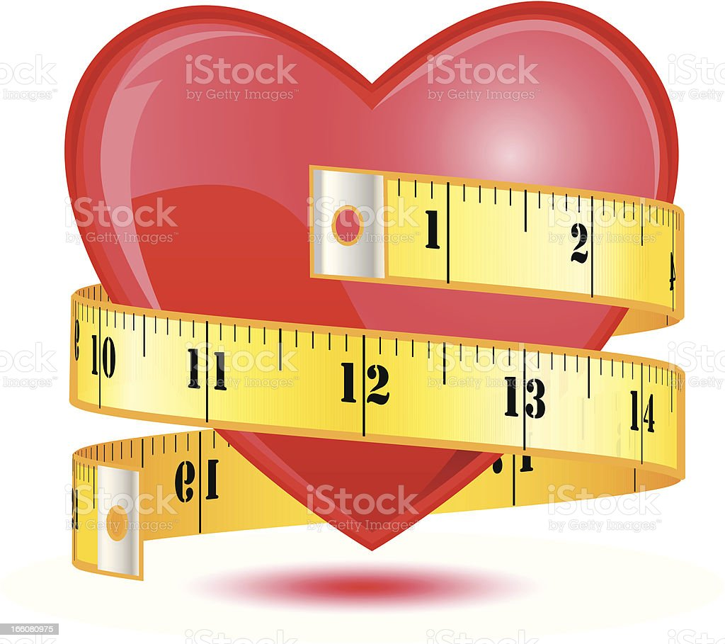 Love heart with a tape measure - VECTOR vector art illustration