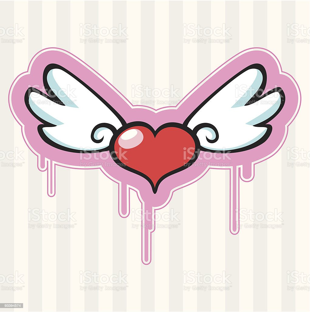 Love Heart With Angel Wings royalty-free stock vector art