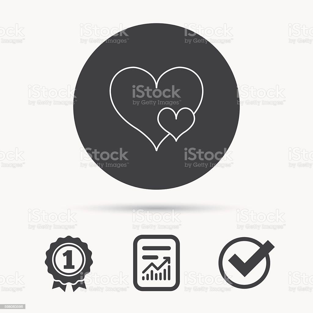 Love hearts icon. Lovers sign. vector art illustration