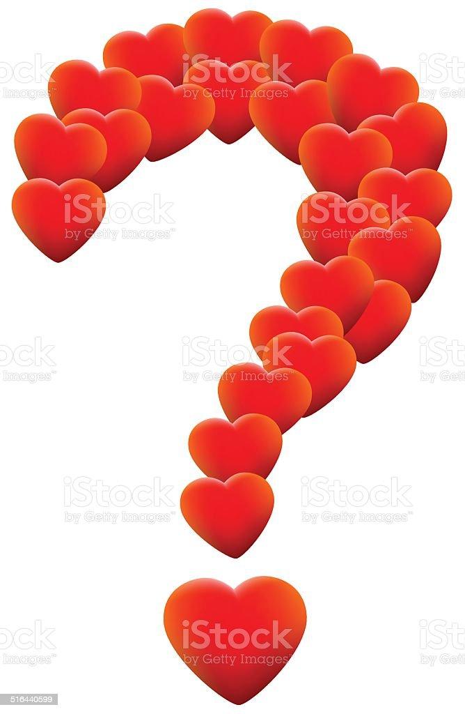 Love Hearts Question Mark vector art illustration
