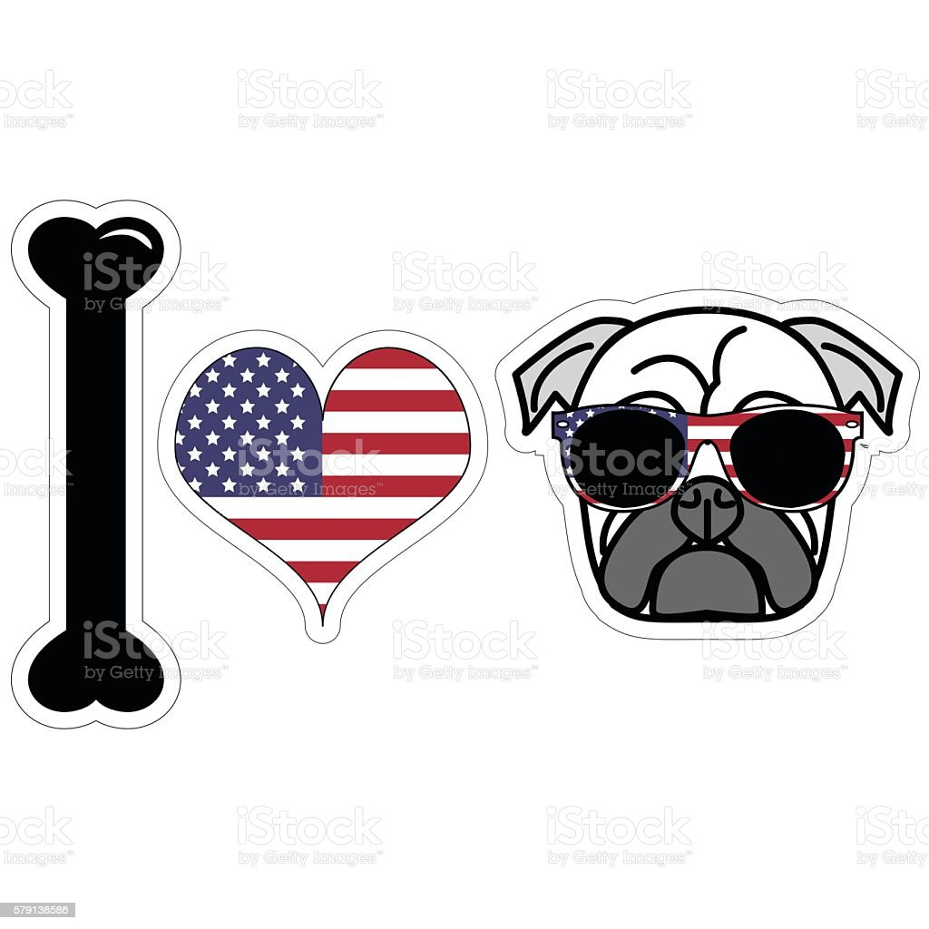 I love hipster pug illustration in color with American symbols such...