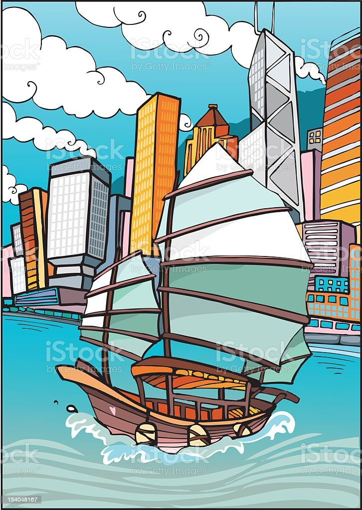Love Hong Kong vector art illustration