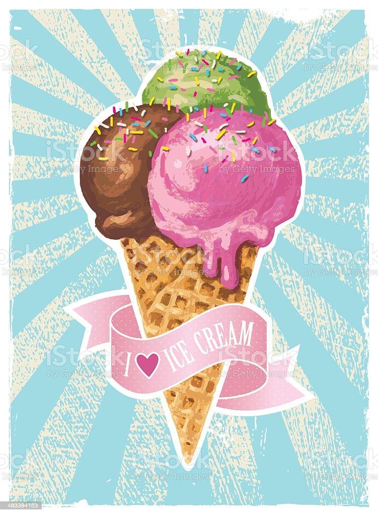 I love ice cream vector art illustration