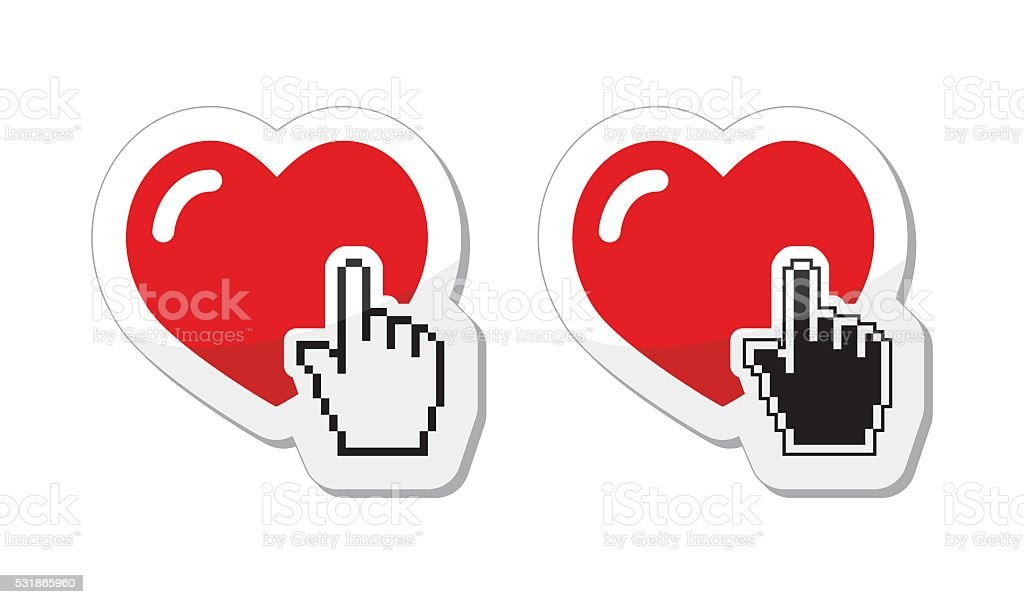 Love icon - heart with pixelated hand vector art illustration
