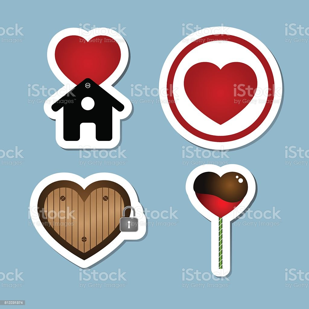 love icon set vector art illustration