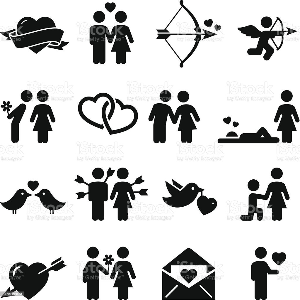 Love Icons - Black Series vector art illustration