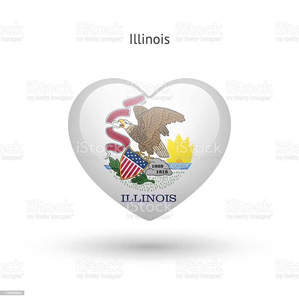 Love Illinois state symbol. Heart flag icon vector art illustration