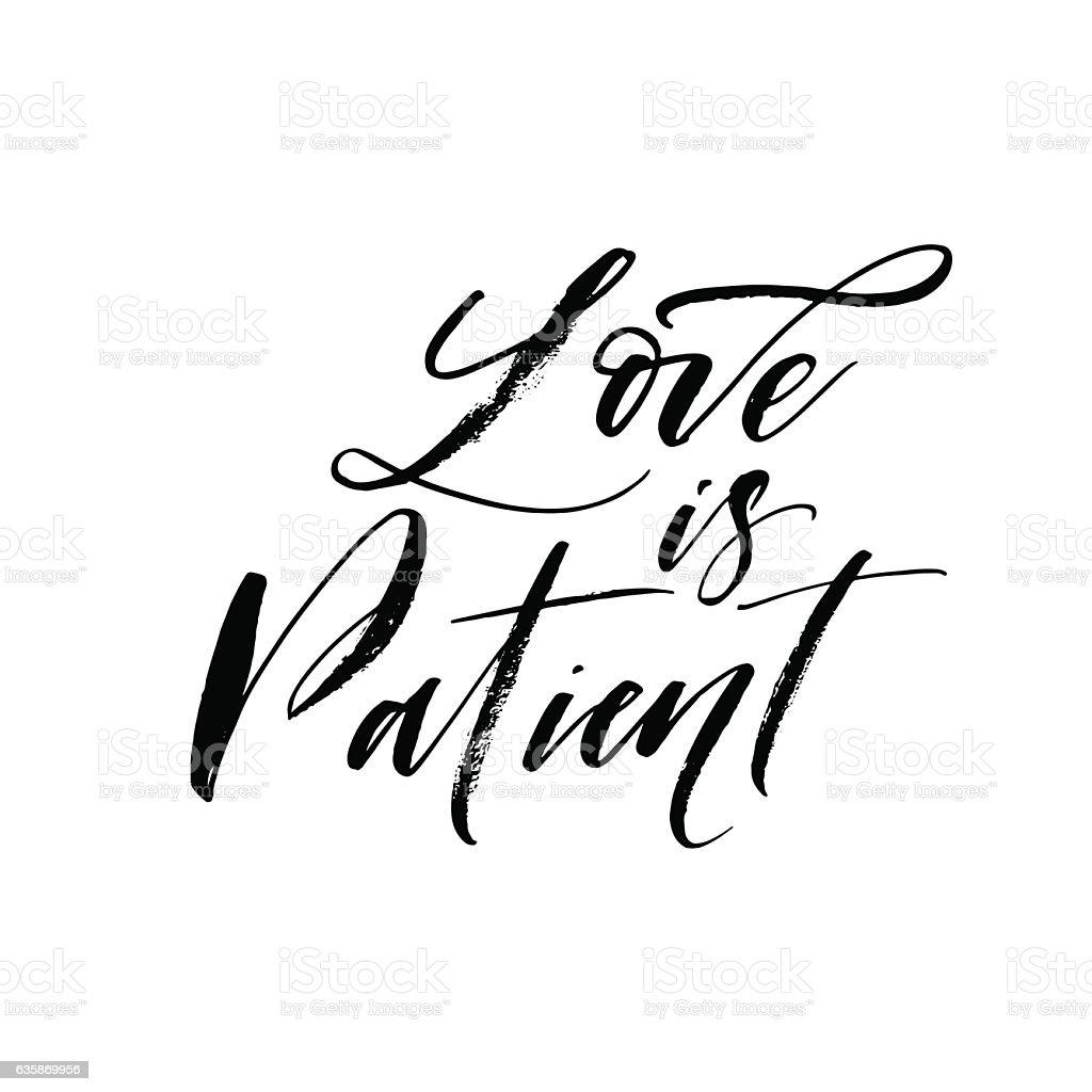 Love is patient postcard. vector art illustration