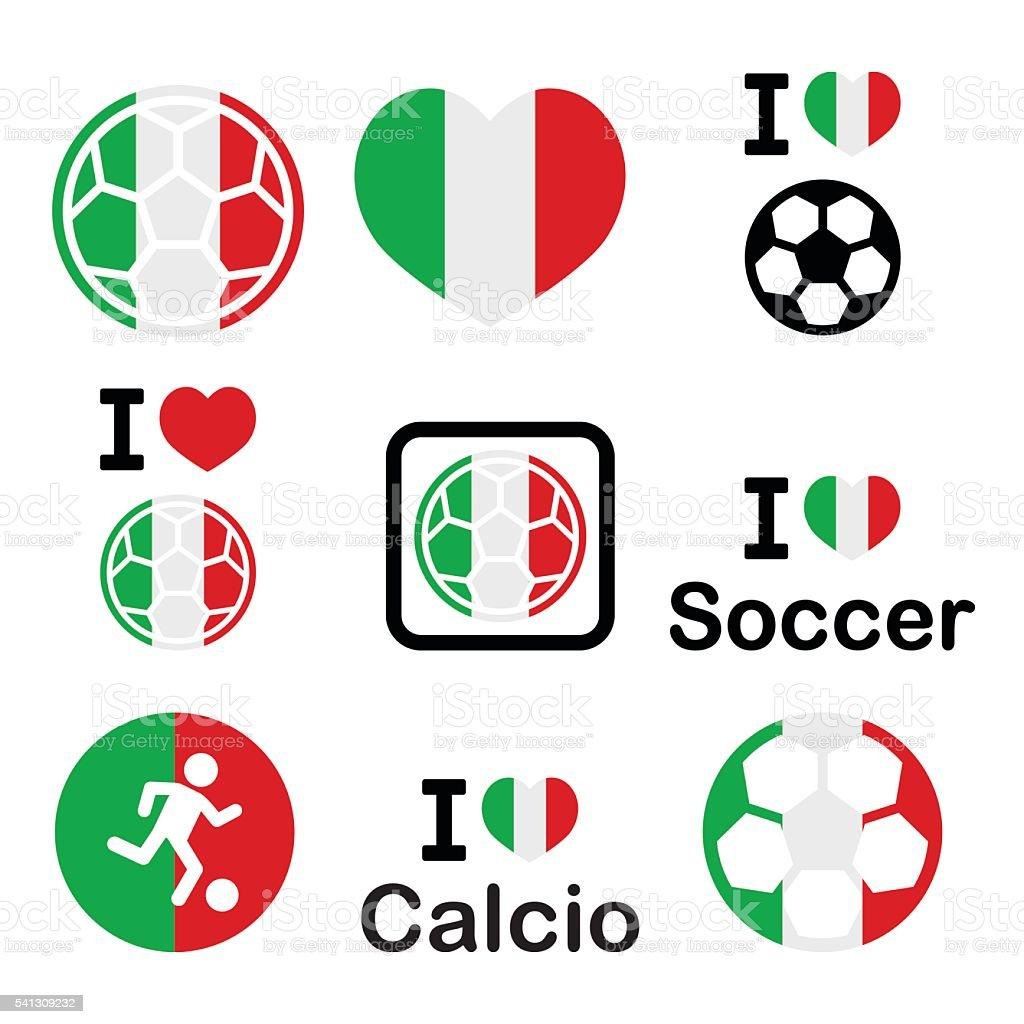 I love Italian football, soccer icons set vector art illustration