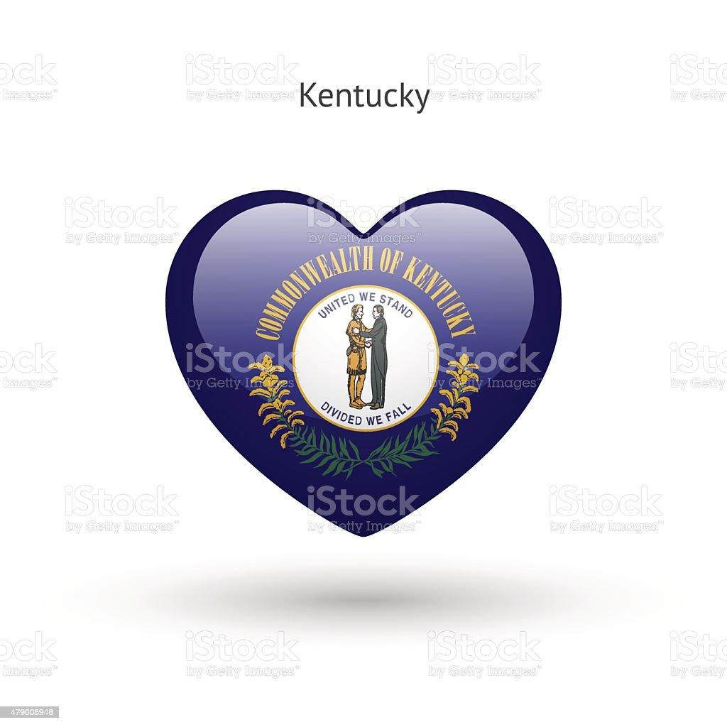 Love Kentucky state symbol. Heart flag icon vector art illustration