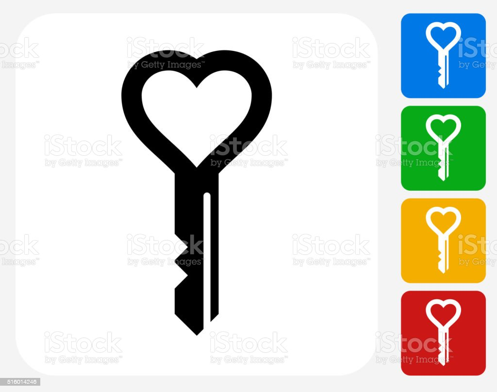 Love Keys Icon Flat Graphic Design vector art illustration