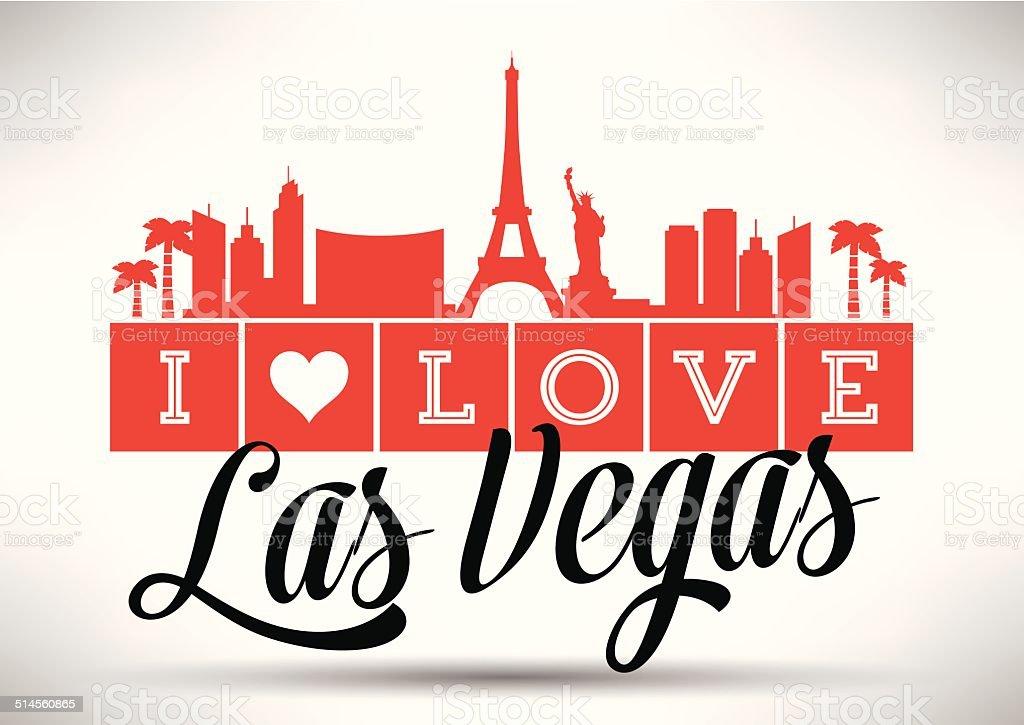 I love Las Vegas Typography Design vector art illustration