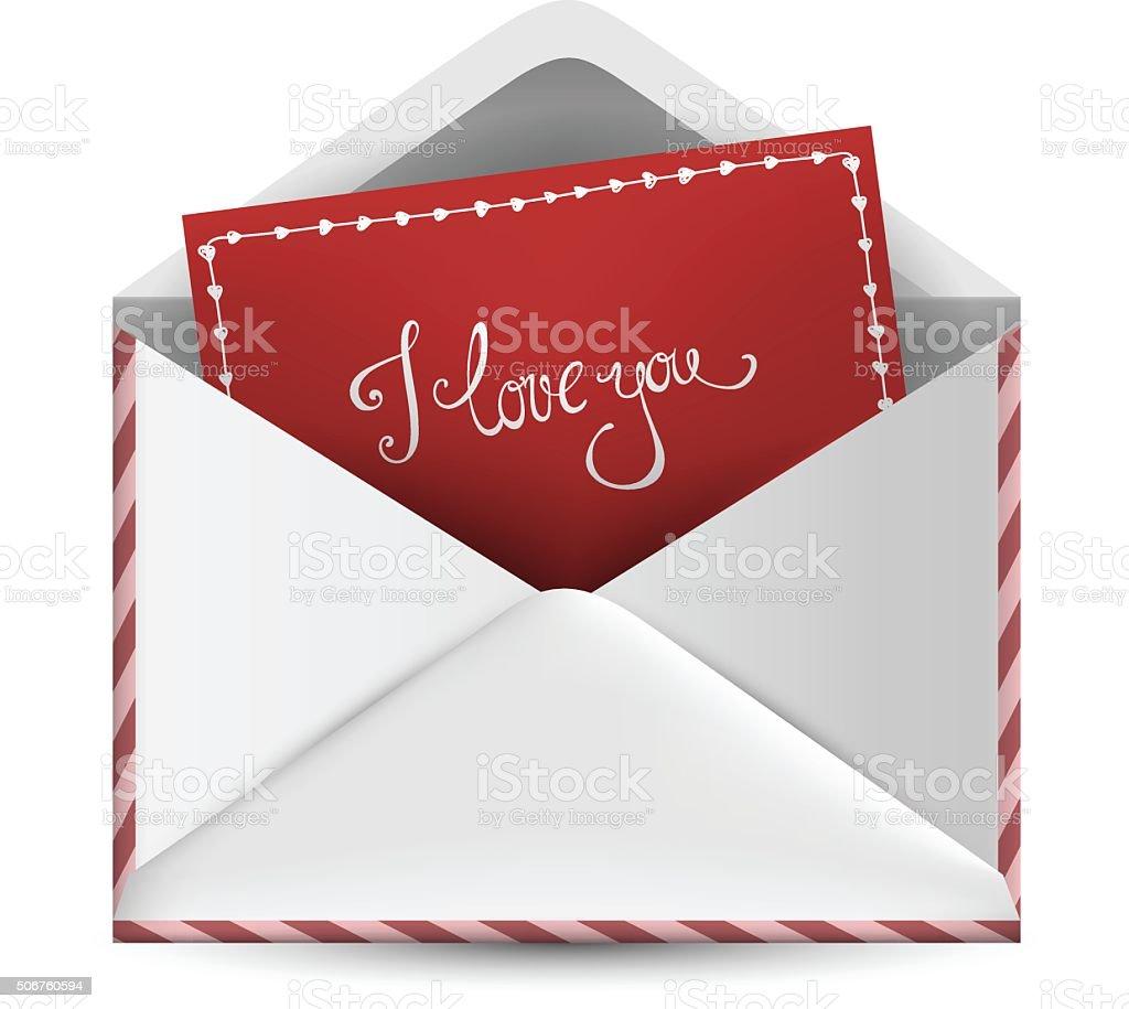 Love letter in envelope vector art illustration