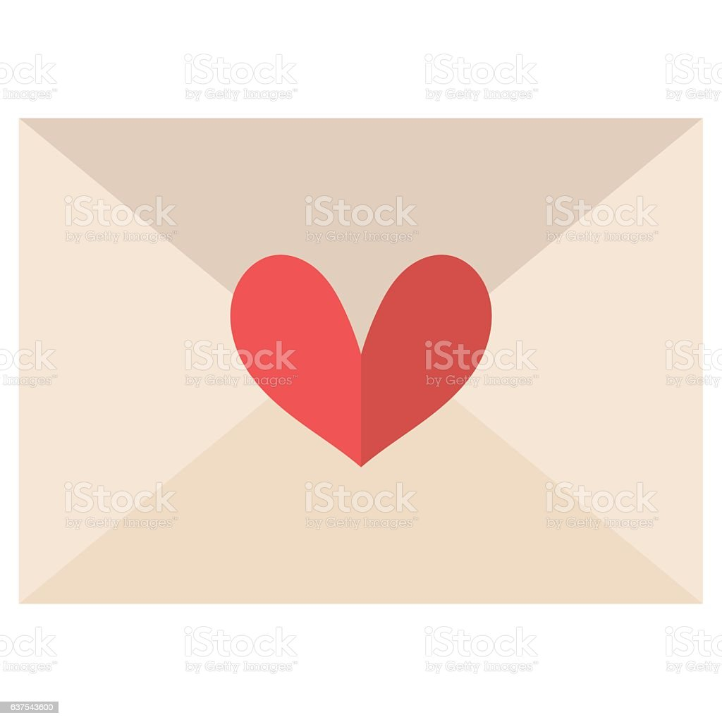 Love letter with a heart shape vector art illustration