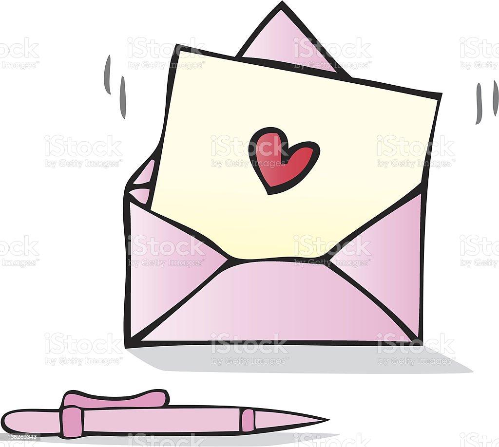 Love Letter with heart shape cartoon illustration royalty-free stock vector art