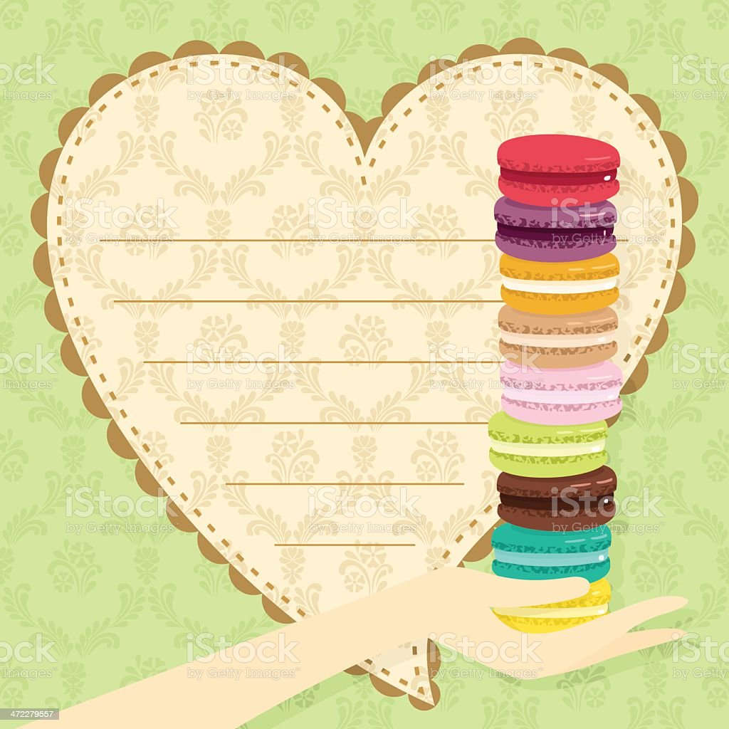 Love macarons. St Valentine?s Day gift royalty-free stock vector art