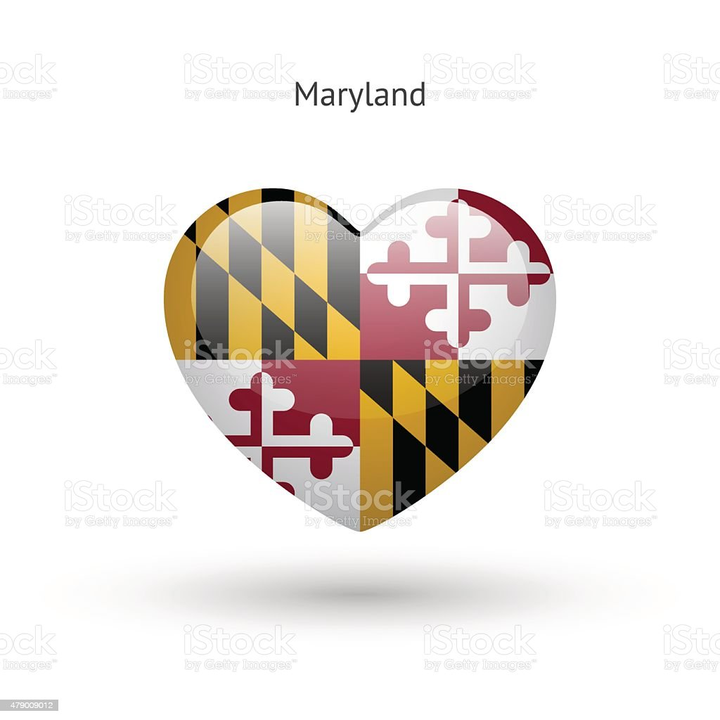 Love Maryland state symbol. Heart flag icon vector art illustration