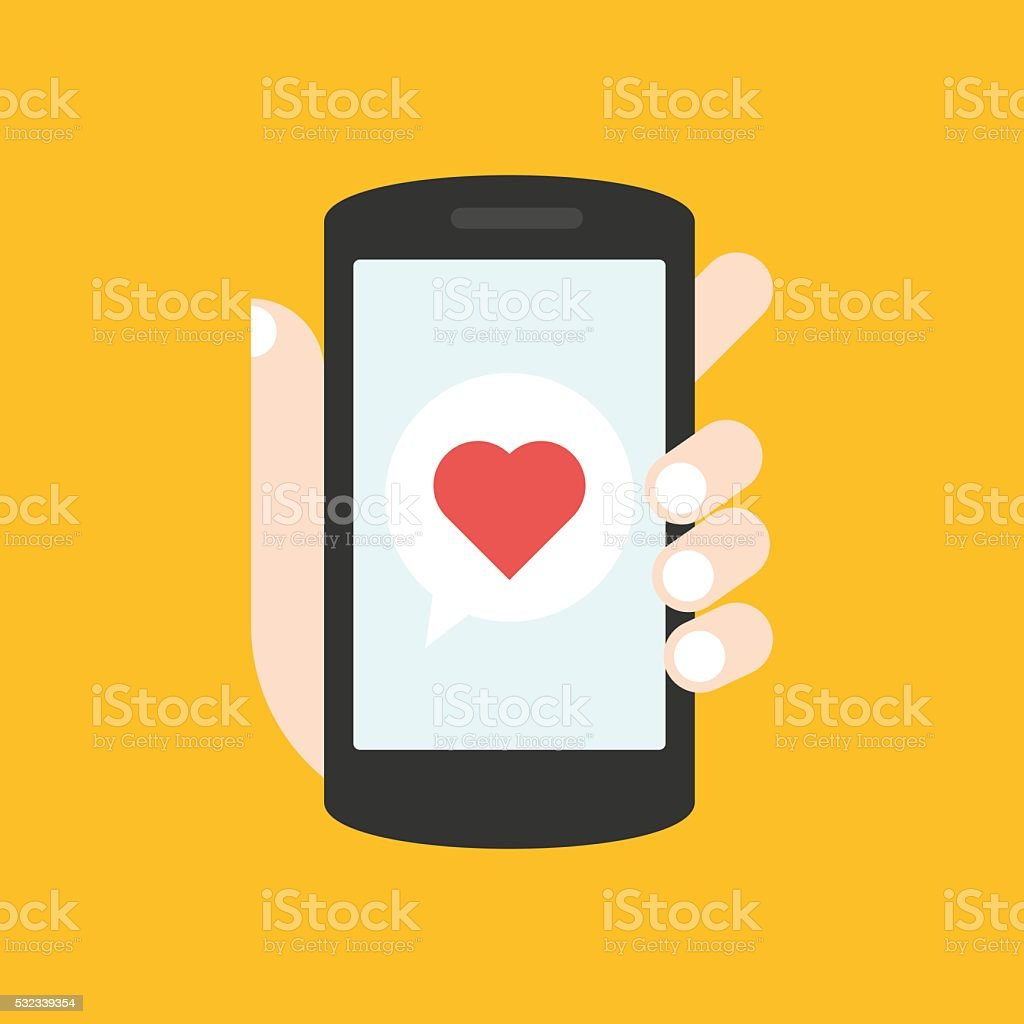 Love message (red heart) on yellow background stock photo