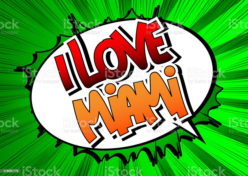 I Love Miami - Comic book style word. vector art illustration