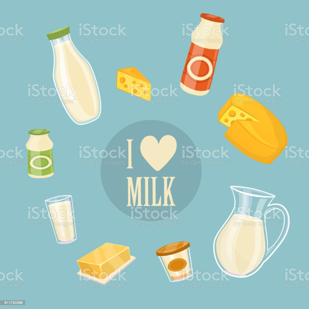 I love milk banner with dairy products vector art illustration