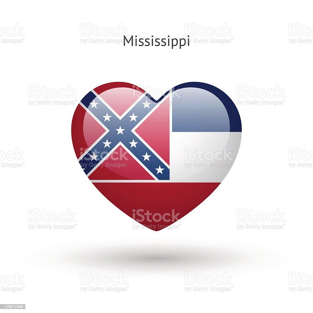Love Mississippi state symbol. Heart flag icon vector art illustration