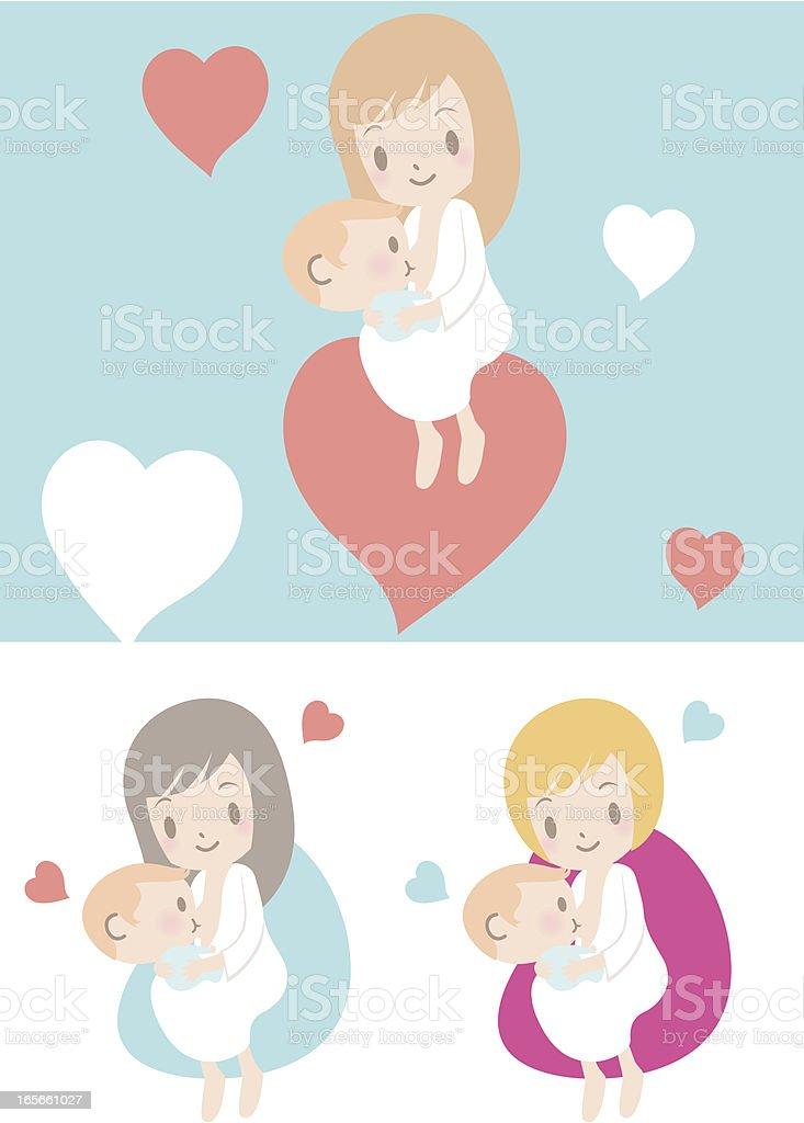 Love: Mother breastfeeding baby boy(girl) vector art illustration
