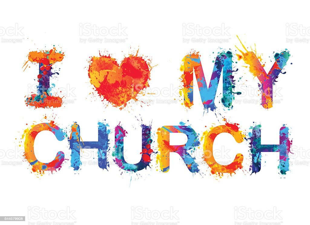 I love my church vector art illustration