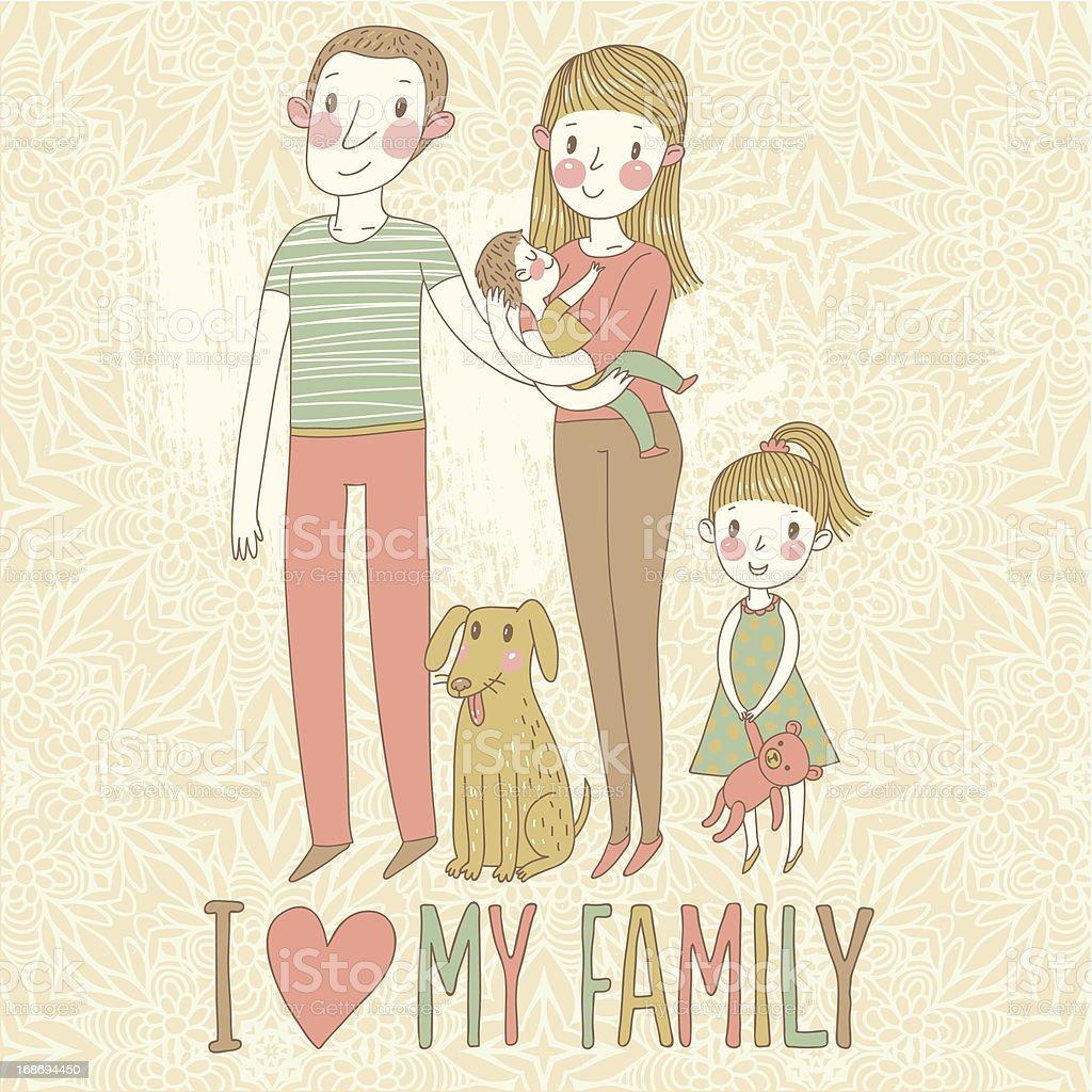 I love my family royalty-free stock vector art