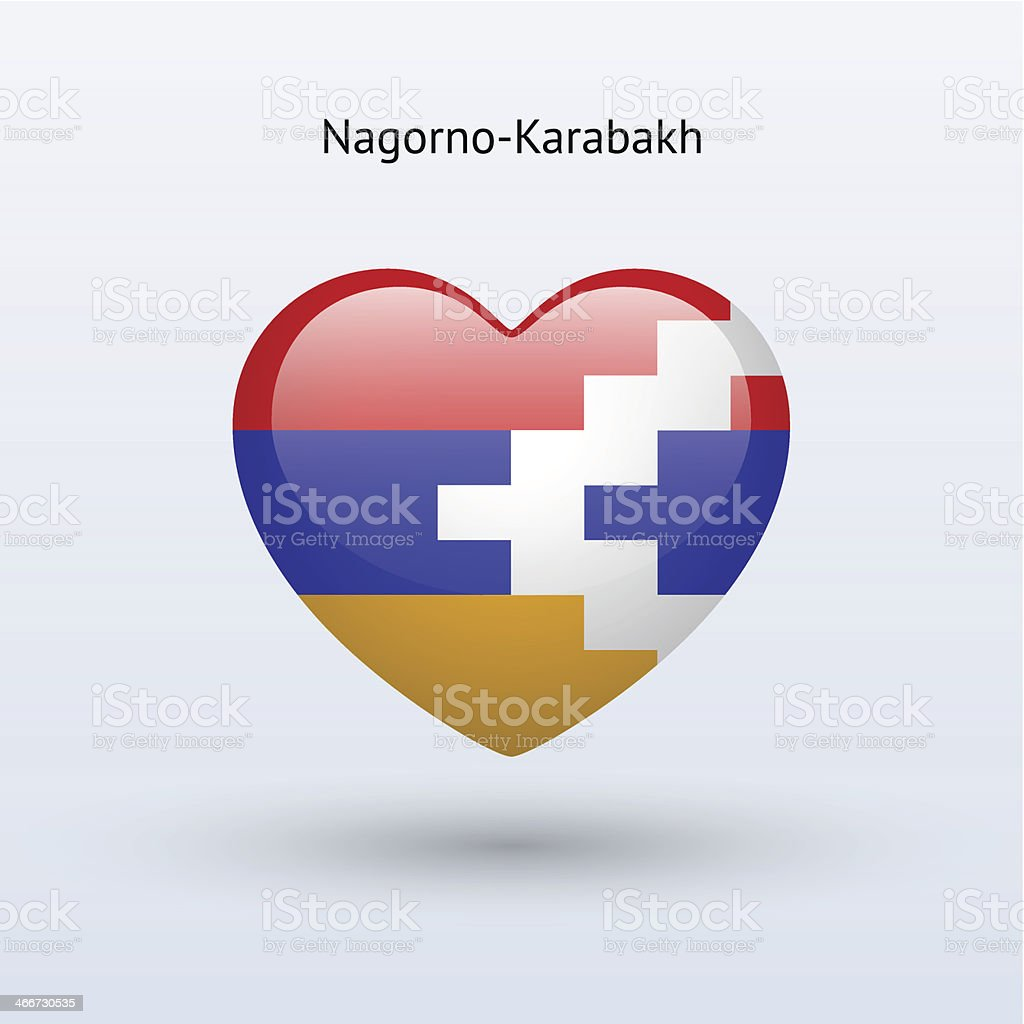 Love Nagorno-Karabakh symbol. Heart flag icon. vector art illustration