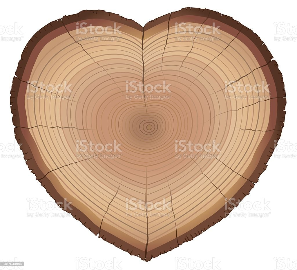 Love Nature Wood Rings Heart Shaped Symbol vector art illustration