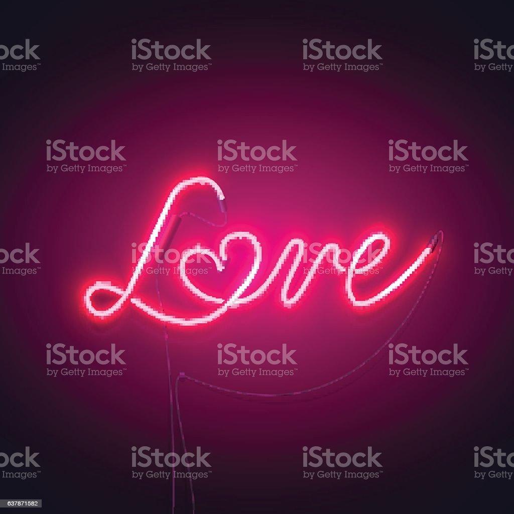 love neon sign pink-01 vector art illustration