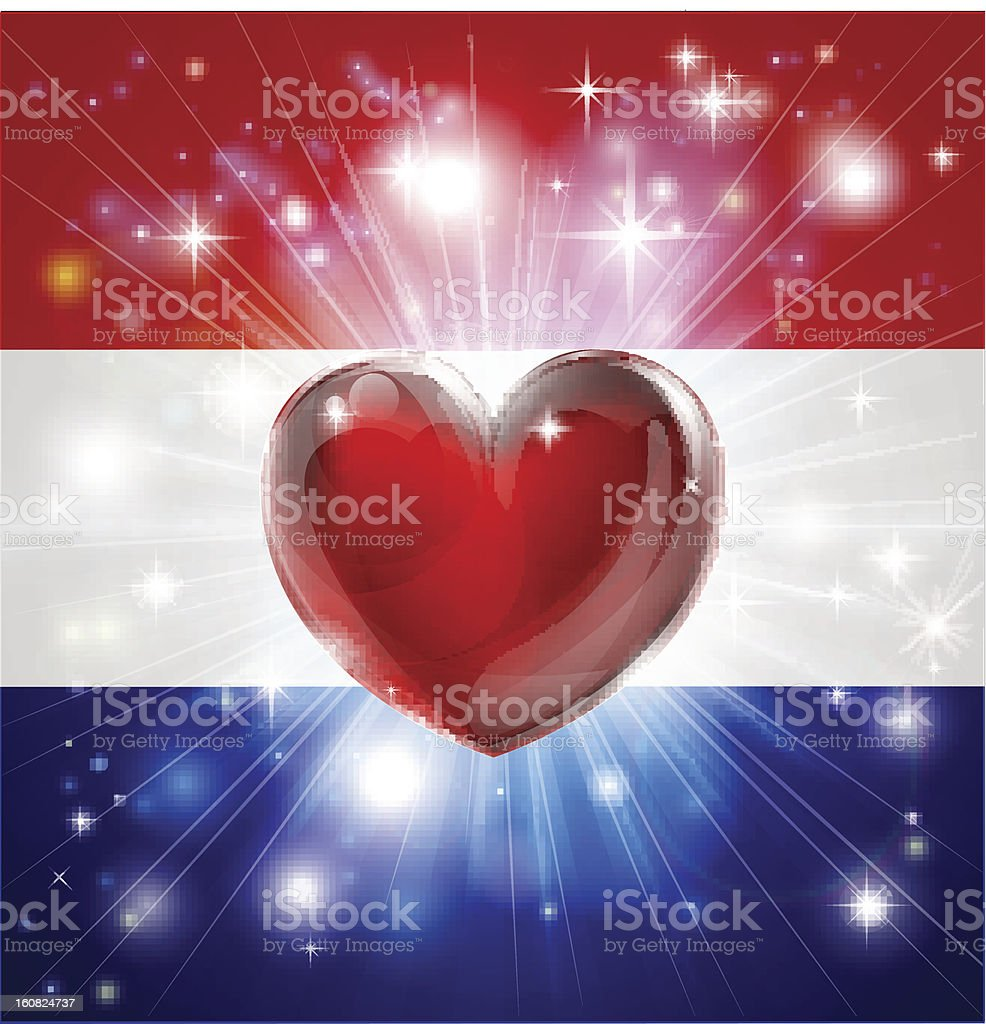 Love Netherlands flag heart background royalty-free stock vector art