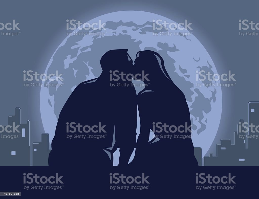 Love night vector art illustration
