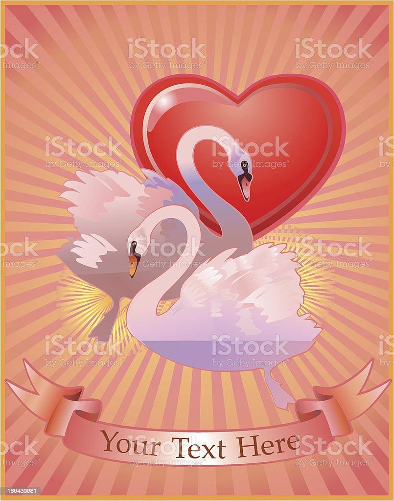 Love of swans vector art illustration