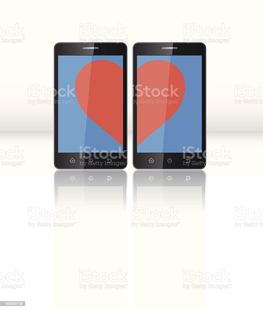 Love on Smartphone vector art illustration