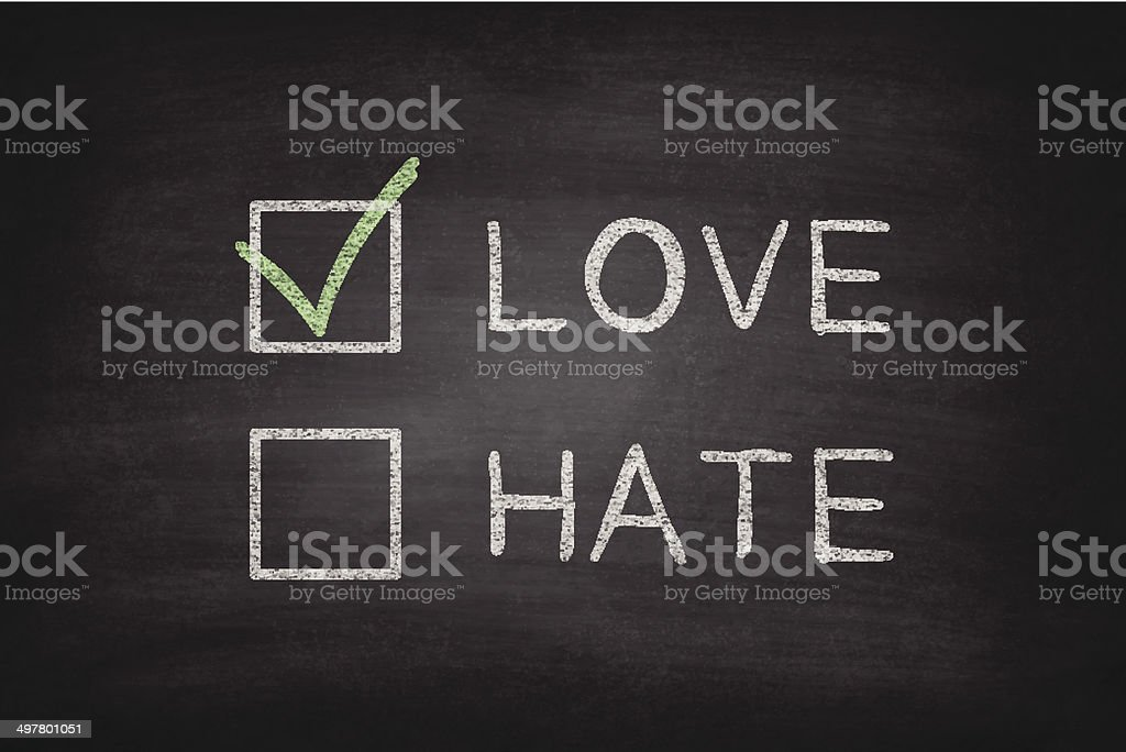 Love or Hate Checkboxes on Blackboard - Chalkboard vector art illustration