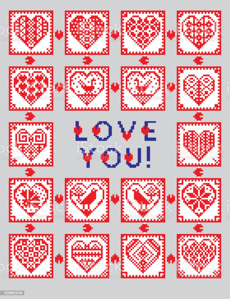 Love ornament greeting card in ethnic style vector art illustration