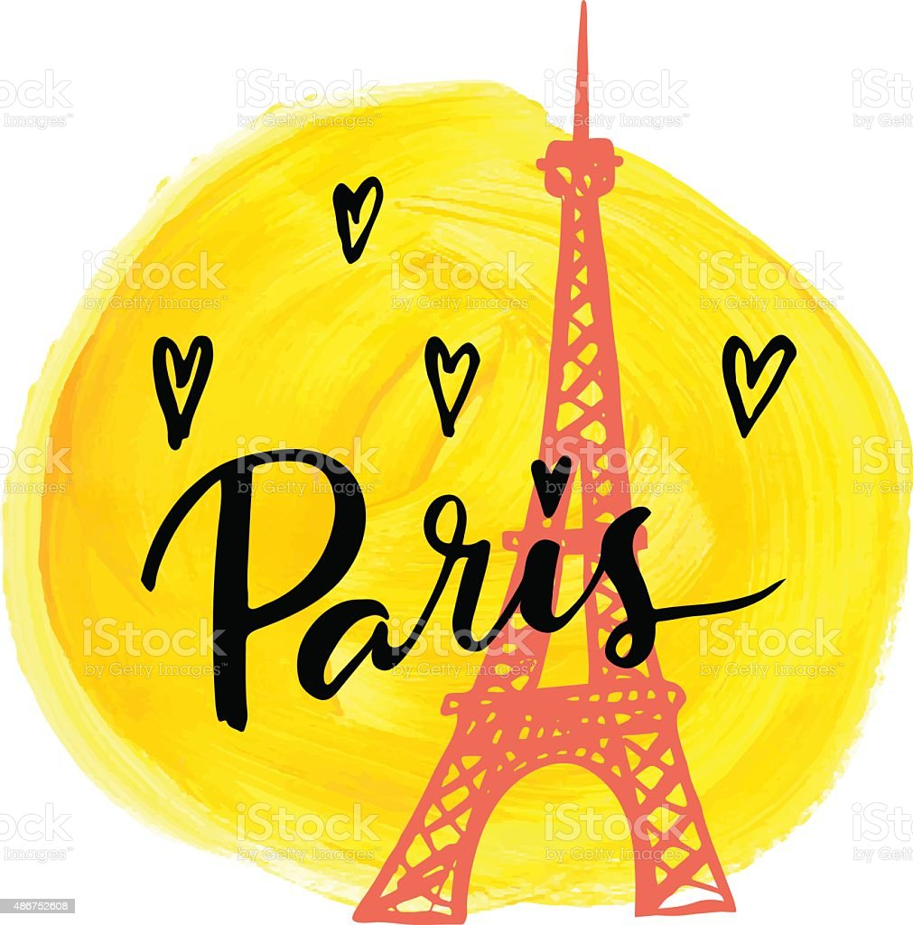 I love Paris. Hand drawn calligraphic card. vector art illustration
